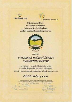 RP JČK 2016 Certifikáty ZEFA Volary